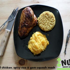 Grilled Chicken, Basmati Rice & Gemsquash Mash female 140g SERVING